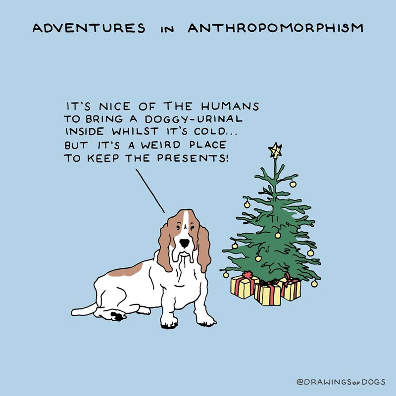 Dog - ADVENTURES IN ANTHROPOMORPHISM IT'S NICE OF THE HUMANS TO BRING A DOGGY-URINAL INSIDE WHILST IT'S COLD... BUT IT'S A WEIRD PLACE TO KEEP THE PRESENTS @DRAWINGSOF DOGS