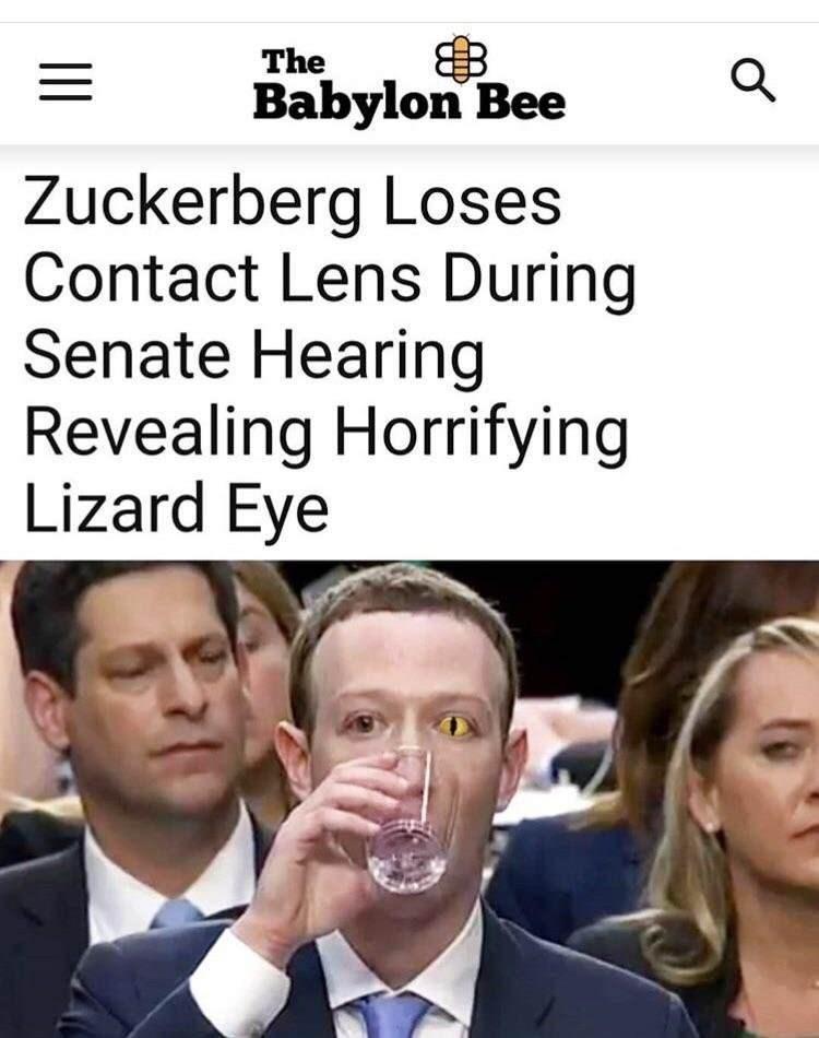 Facial expression - The Babylon Bee Zuckerberg Loses Contact Lens During Senate Hearing Revealing Horrifying Lizard Eye