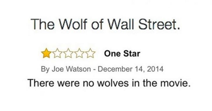 funny review for the movie The Wolf of Wall Street because there weren't any wolves in it