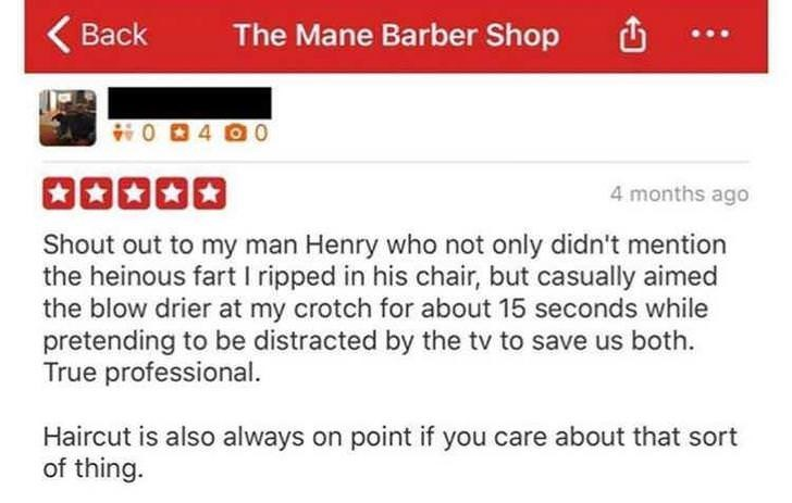 funny review for a barber shop