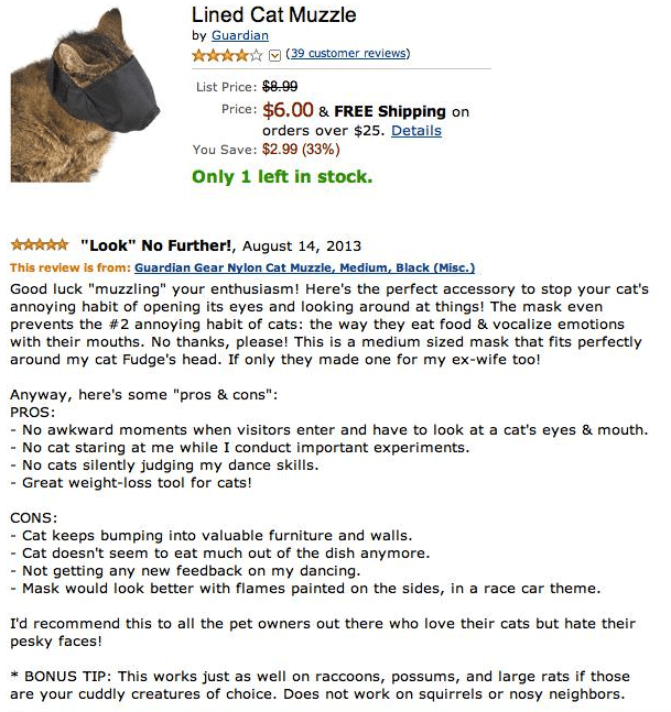funny review for a lined cat muzzle