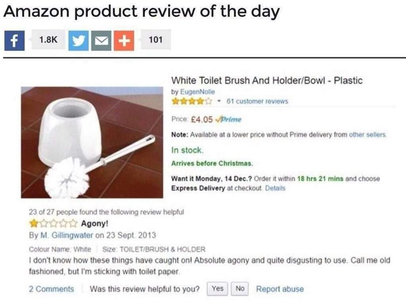 funny review for a toilet brush cleaner