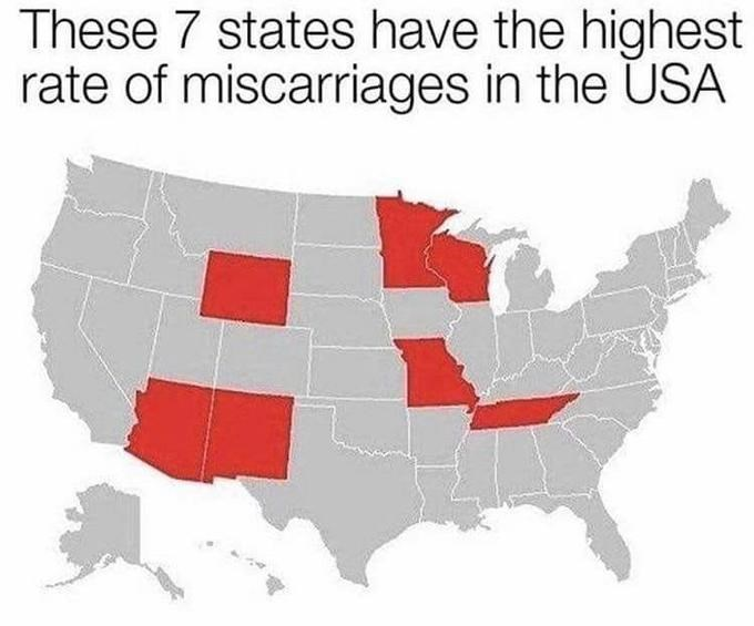 Loss Meme showing which states have the most miscarriages