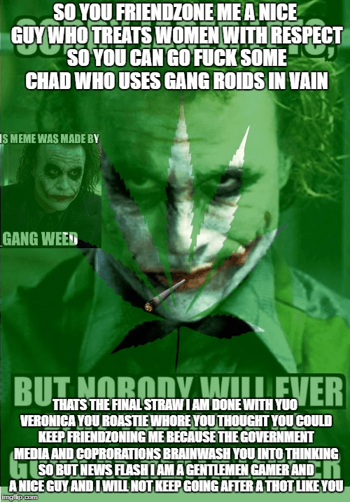 Leaf - SOYOU FRIENDZONE MEANICE GUY WHO TREATS WOMEN WITH RESPECT SO YOU CAN GO FUCK SOME CHAD WHO USES GANG ROIDS IN VAIN IS MEME WAS MADE BY GANG WEED BUTNORODY WEVER THATS THE FINAL STRAWIAM DONE WITH YUO VERONICA YOU ROASTIEWHORE YOUTHOUGHT YOUCOULD KEEPFRIENDZONING ME BECAUSE THE GOVERNMENT MEDIA AND COPRORATIONS BRAINWASH YOU INTO THINKING SOBUTNEWS FLASHIAM AGENTLEMEN GAMER AND ANICE GUY AND IWILL NOT KEEP GOING AFTER ATHOT LIKEYOU imgflip.com