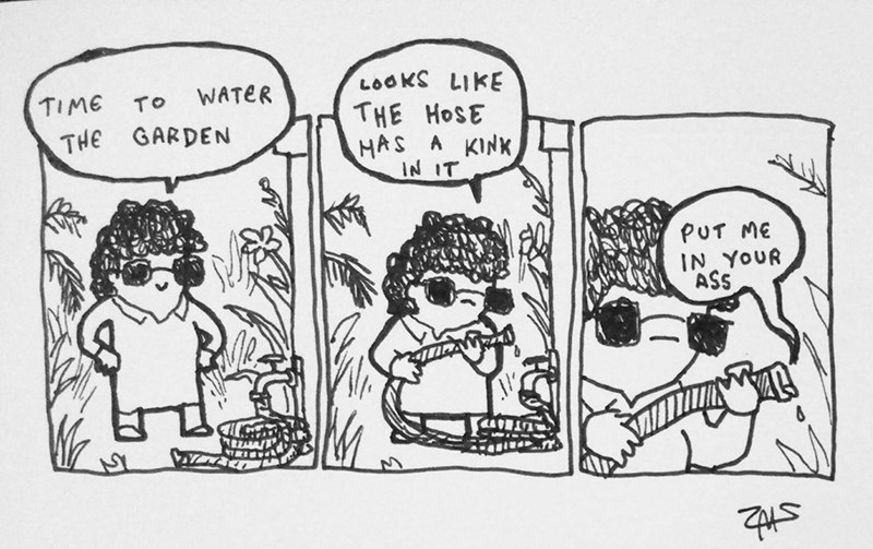 Cartoon - LOOKS LIKE WATER TIME TO THE HOSE THE GARDEN HAS A KINK IN IT PUT ME IN YOUR ASS