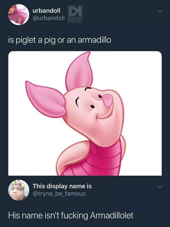 Pink - urbandoll @urbandoll DANK MEMEOLOGY is piglet a pig or an armadillo This display name is @tryna be_famous His name isn't fucking Armadillolet