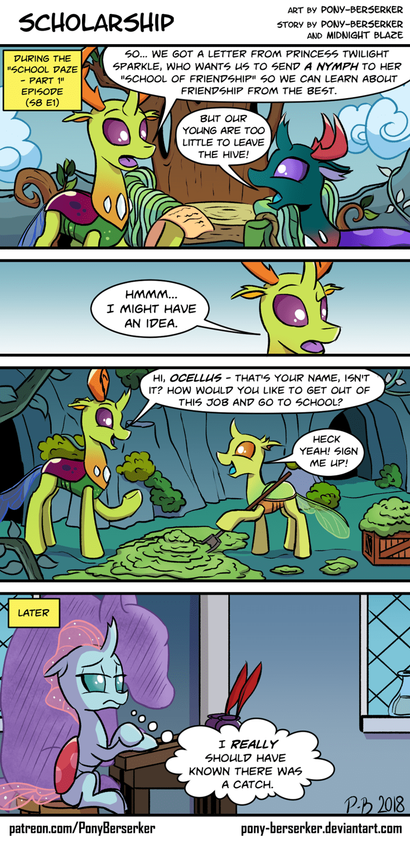 thorax pony-berserker ocellus comic school daze changelings - 9150477824