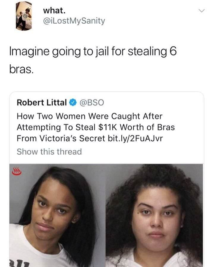 Face - what. @iLostMySanity Imagine going to jail for stealing 6 bras. Robert Littal @BSO How Two Women Were Caught After Attempting To Steal $11K Worth of Bras From Victoria's Secret bit.ly/2FuAJvr Show this thread