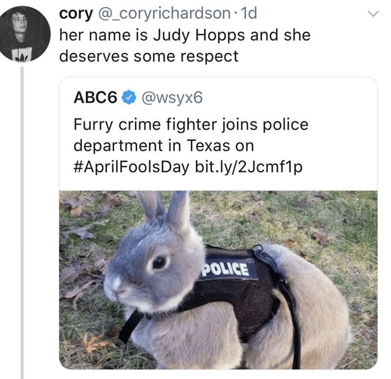 Rabbit - cory @_coryrichardson 1d her name is Judy Hopps and she deserves some respect АВС6 @wsyx6 Furry crime fighter joins police department in Texas on #AprilFoolsDay bit.ly/2Jcmf1p POLICE