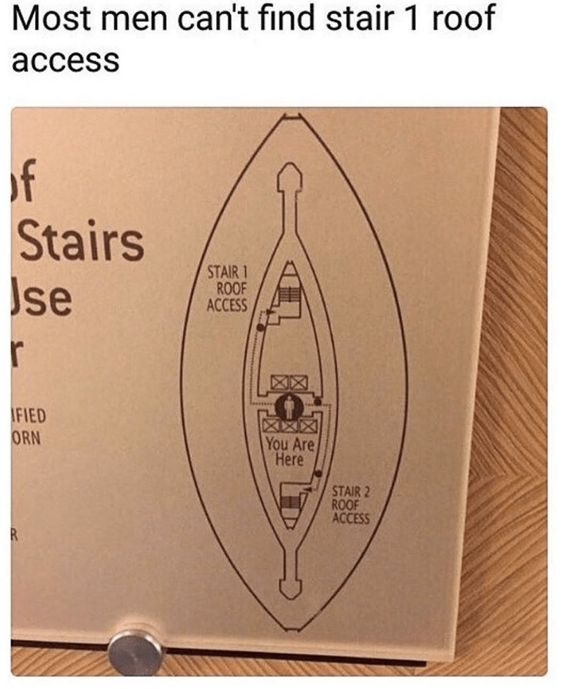 Text - Most men can't find stair 1 roof access of Stairs se STAIR 1 ROOF ACCESS FIED ORN You Are Here STAIR 2 ROOF ACCESS R