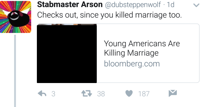 Text - Stabmaster Arson @dubsteppenwolf 1d Checks out, since you killed marriage too. Young Americans Are Killing Marriage bloomberg.com 38 187