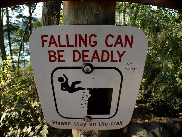 Signage - FALLING CAN BE DEADLY GRd ferery! Please stay on the trail