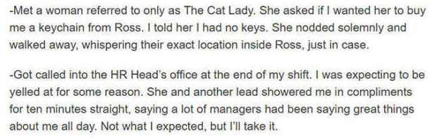 Text - -Met a woman referred to only as The Cat Lady. She asked if I wanted her to buy me a keychain from Ross. I told her I had no keys. She nodded solemnly and walked away, whispering their exact location inside Ross, just in case. Got called into the HR Head's office at the end of my shift. I was expecting to be yelled at for some reason. She and another lead showered me in compliments for ten minutes straight, saying a lot of managers had been saying great things about me all day. Not what I