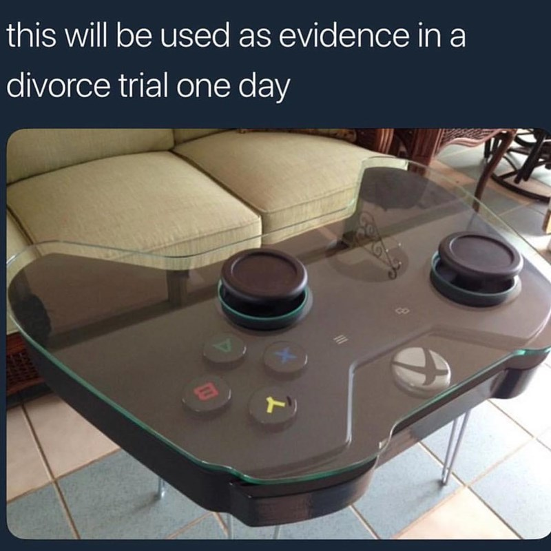 Funny meme about table shaped like controller.