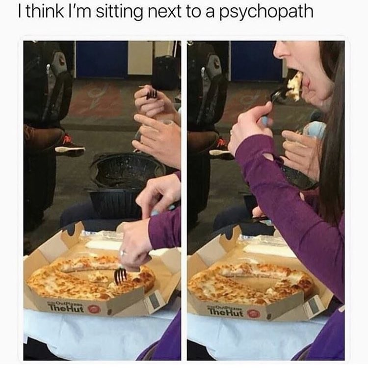 funny meme about eating pizza wrong.