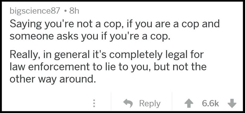 Text - bigscience87 8h Saying you're not a cop, if you are a cop and someone asks you if you're a cop. Really, in general it's completely legal for law enforcement to lie to you, but not the other way around. 6.6k Reply