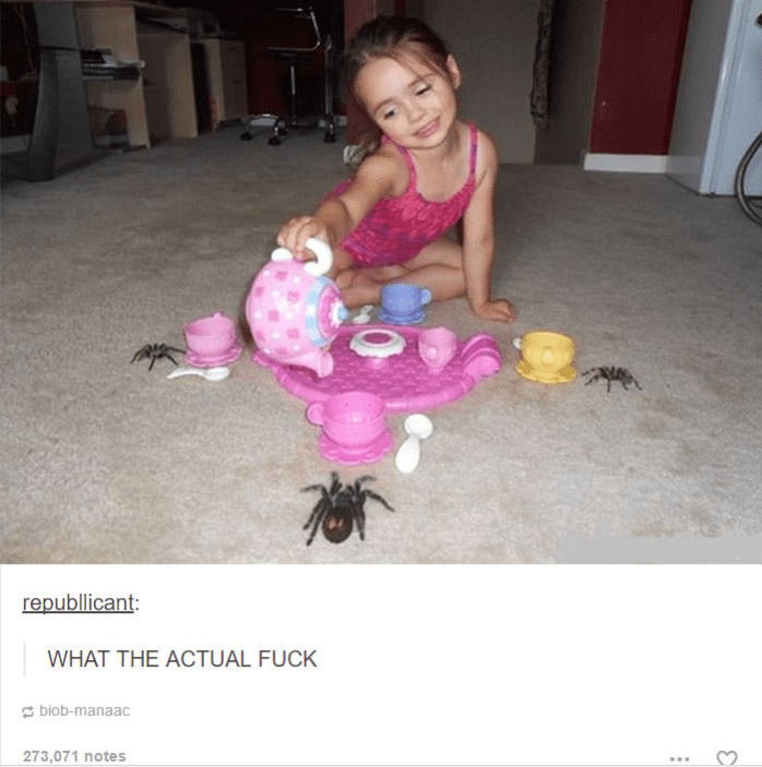 little girl having tea party with three big spiders