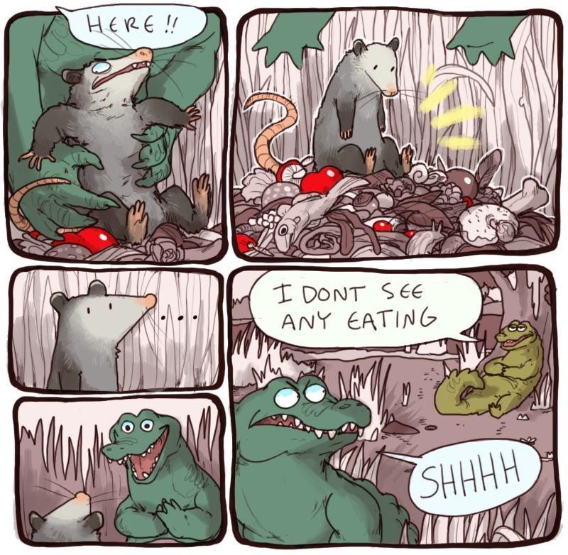 Cartoon - HERE!! I DONT SEE ANY EATING SHHHH