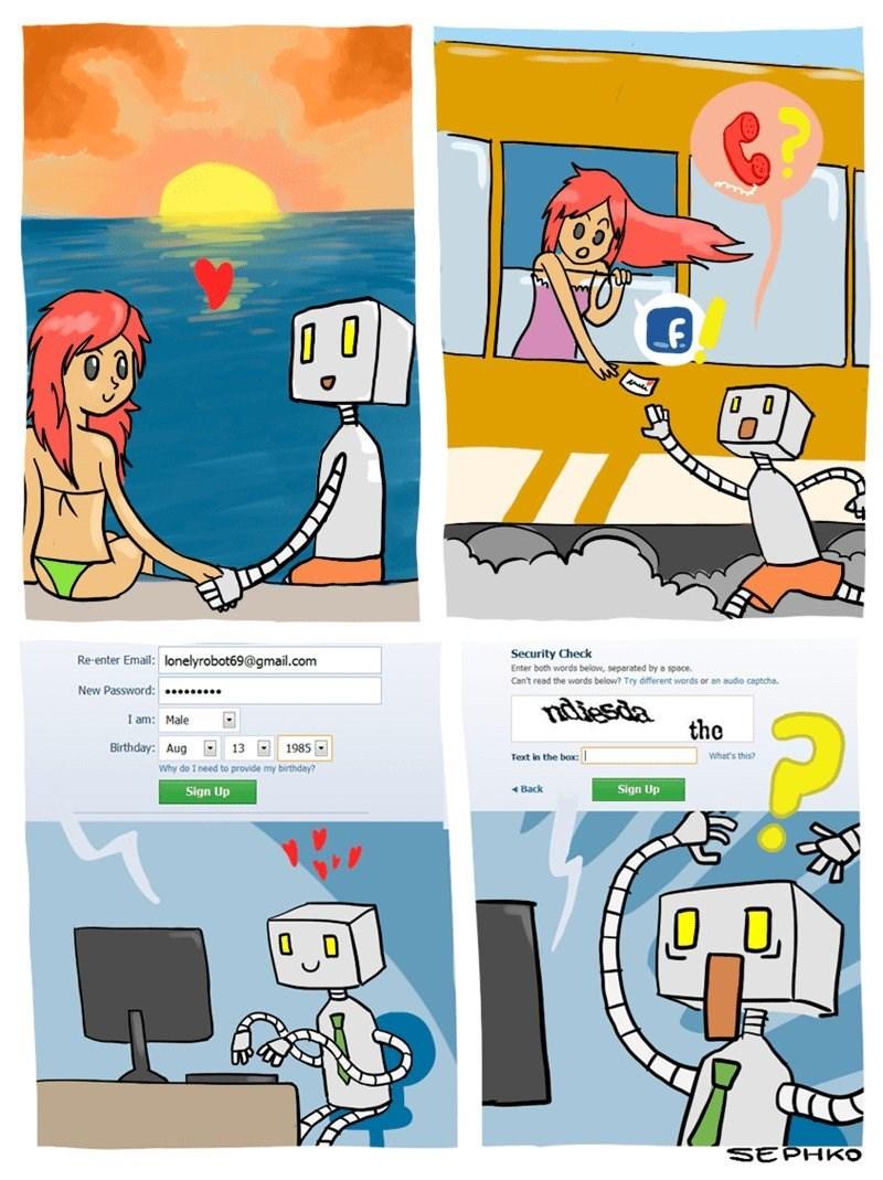 amor entre robot y una chica por facebook