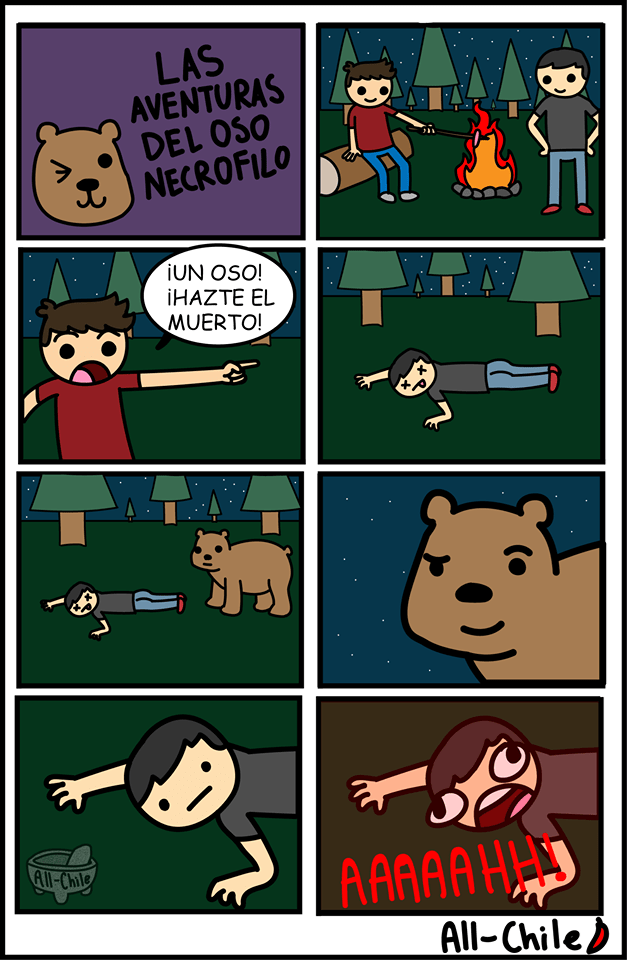 cuando te haces el muerto pero el oso es un necrofilo