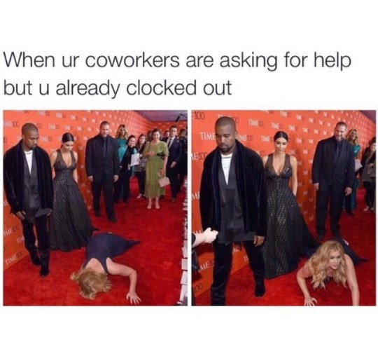 """Funny meme that reads, """"When ur coworkers are asking for help but u already clocked out"""""""