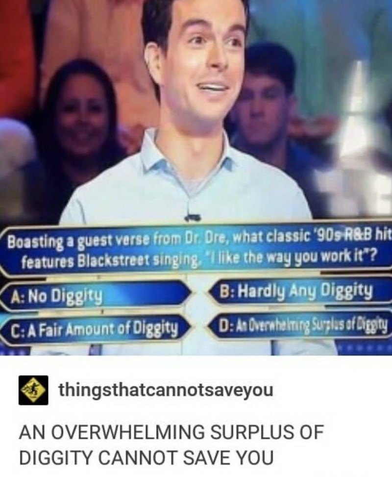 """music meme - Product - Boasting a guest verse from Dr. Dre, what classic '90s R8B hit features Blackstreet singing,I like the way you work it""""? B:Hardly Any Diggity D:An Overwhelming Surplus of Diggity A: No Diggity C:A Fair Amount of Diggity thingsthatcannotsaveyou AN OVERWHELMING SURPLUS OF DIGGITY CANNOT SAVE YOU"""