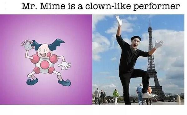 Cartoon - Mr. Mime is a clown-like performer