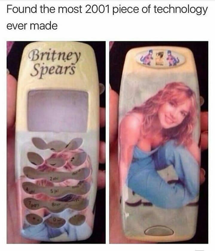 Funny meme about britney spears nokia phone.