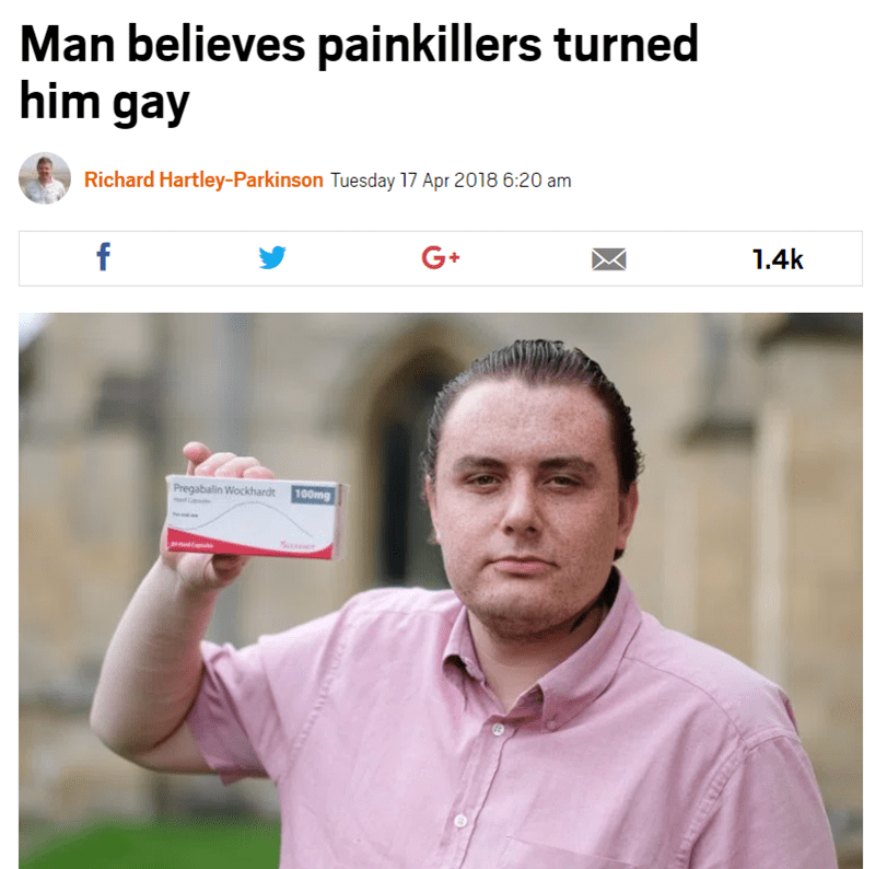 Product - Man believes painkillers turned him gay Richard Hartley-Parkinson Tuesday 17 Apr 2018 6:20 am 1.4k G+ f Pregabalin Wockhardt 100mg ww