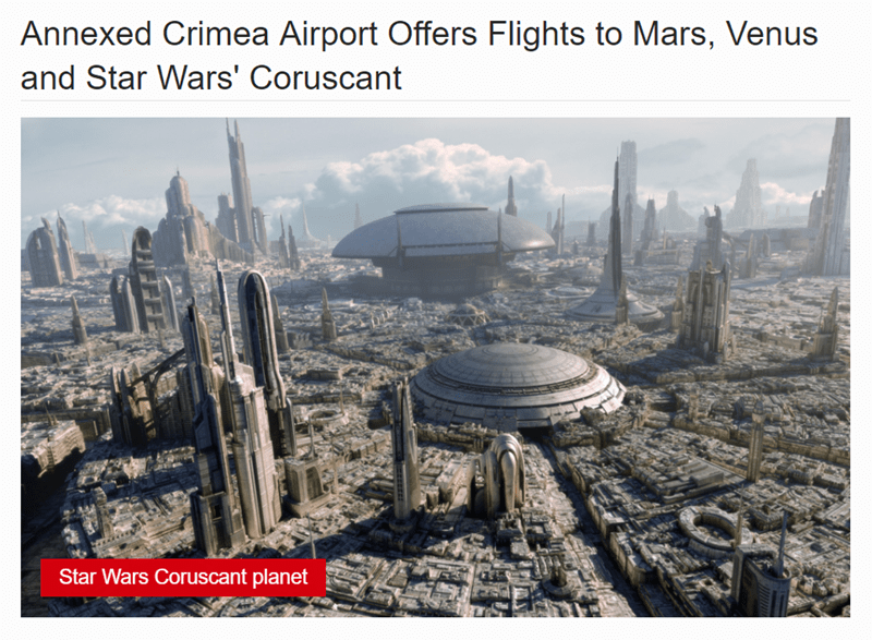 Landmark - Annexed Crimea Airport Offers Flights to Mars, Venus and Star Wars' Coruscant Star Wars Coruscant planet