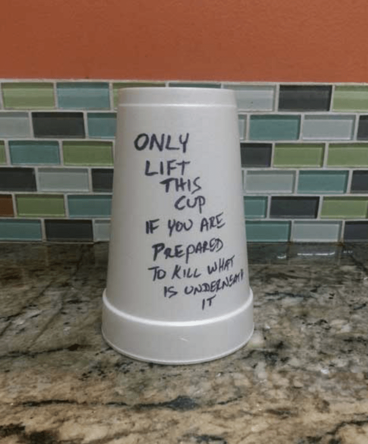 Text - ONLY LIFT THIS Cup IF you ARE PREPARSD To KILL WHAT IS UNDEENS IT