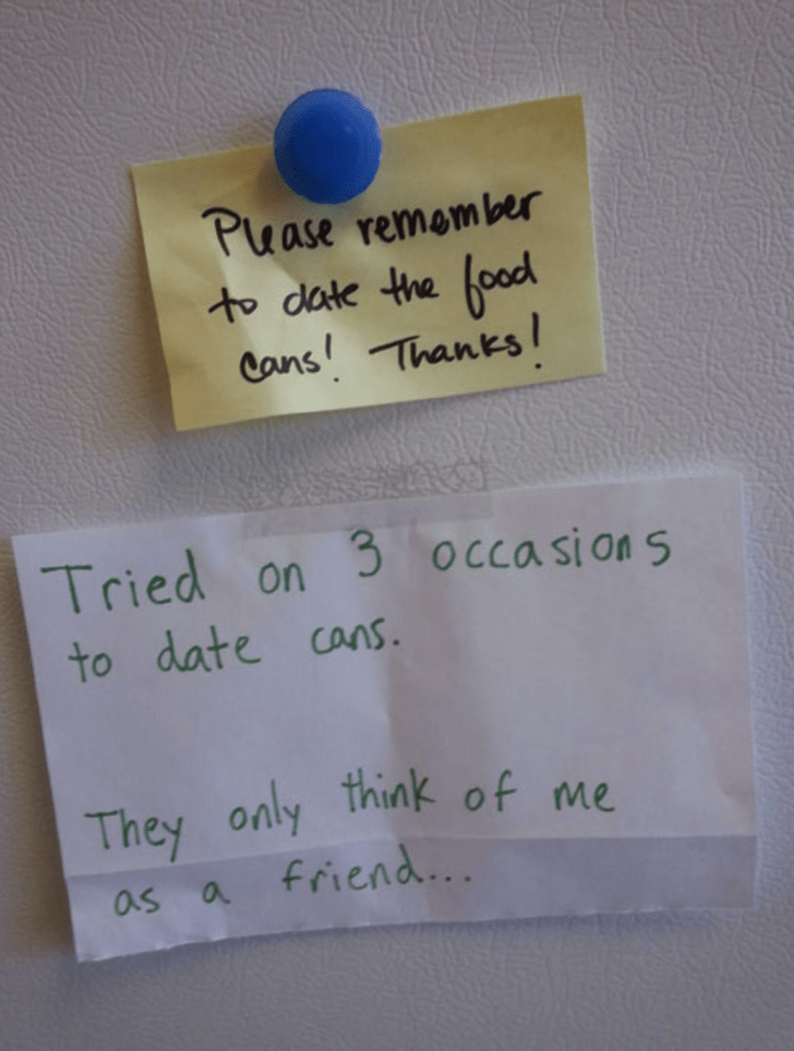 Text - Puase remomber to date the food Cans! Thanks! 3 occasion S Tried on to date cans only think of me They friend... as a