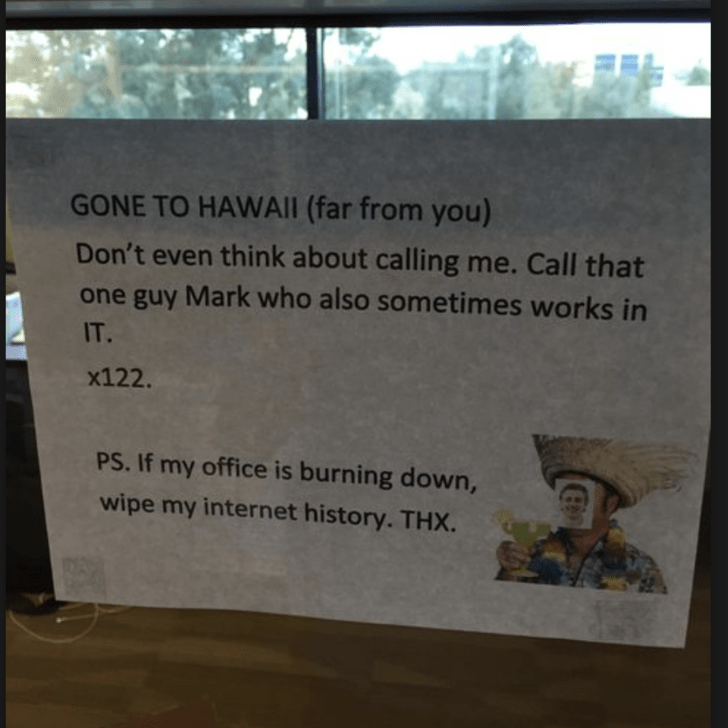 Text - GONE TO HAWAII (far from you) Don't even think about calling me. Call that one guy Mark who also sometimes works in IT. x122. PS. If my office is burning down, wipe my internet history. THX.