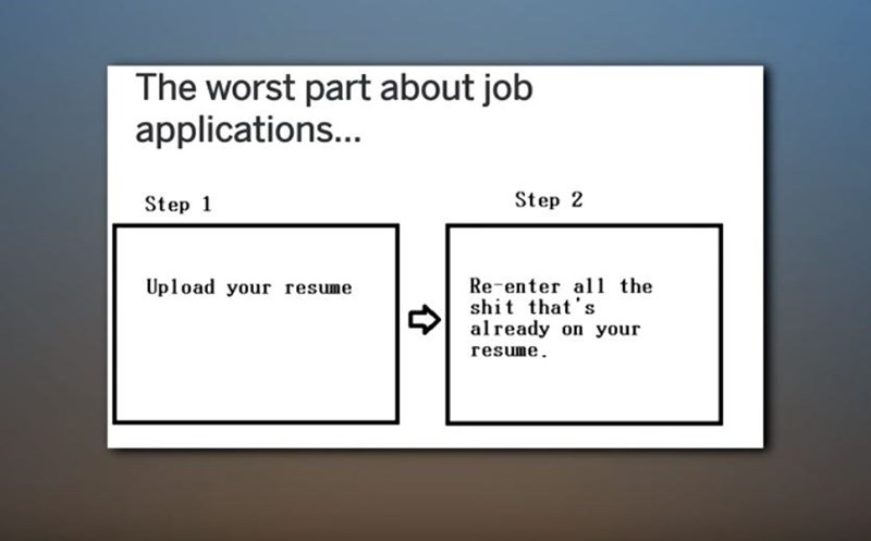 Text - The worst part about job applications... Step 2 Step 1 Re-enter al the shit that's already on your Upload your resume resume