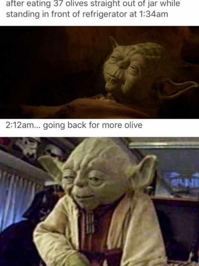 Funny meme about yoda and olives.