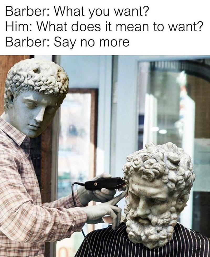 Funny meme about philosophy and barbers.