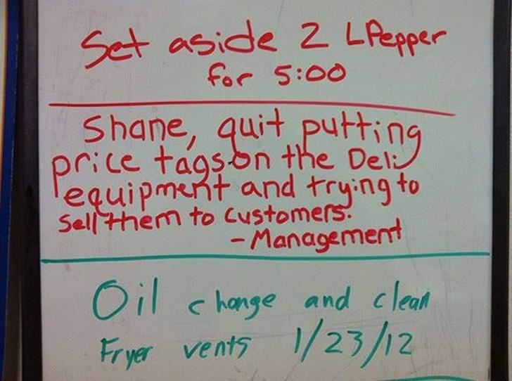 Text - Set aside 2 LAepper for 5:00 Shane, quit putting price tagson the Del equipment and trying to Sellthem to Customers. -Management Oil change and cleat Fryer vents 1/23/2