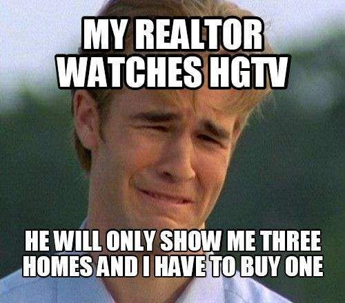 meme - Internet meme - MY REALTOR WATCHES HGT HE WILL ONLY SHOW ME THREE HOMES AND I HAVE TO BUY ONE