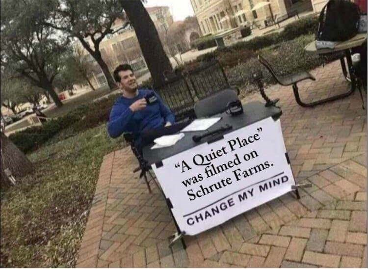 """Protest - """"A Quiet Place"""" was filmed on Schrute Farms CHANGE MY MIND"""