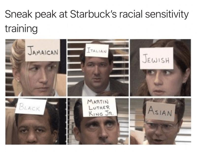 Face - Sneak peak at Starbuck's racial sensitivity training JAMAICAN ITALIAN JEWISH MARTIN LUTHER KING JR BLACK ASIAN