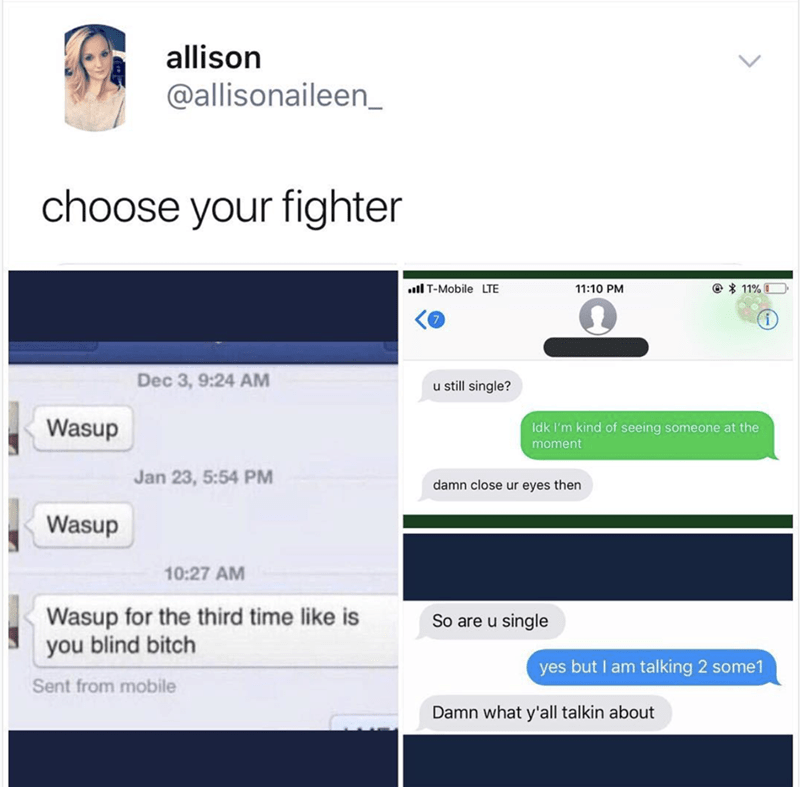 Text - allison @allisonaileen choose your fighter @ 11%I il T-Mobile LTE 11:10 PM Dec 3, 9:24 AM u still single? Wasup Idk I'm kind of seeing someone at the moment Jan 23, 5:54 PM damn close ur eyes then Wasup 10:27 AM Wasup for the third time like is you blind bitch So are u single yes but I am talking 2 some1 Sent from mobile Damn what y'all talkin about