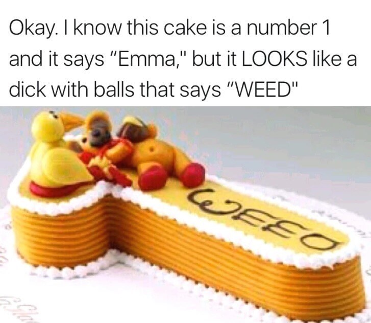 """Cake decorating supply - Okay. I know this cake is a number 1 and it says """"Emma,"""" but it LOOKS like a dick with balls that says """"WEED"""" WEEO"""