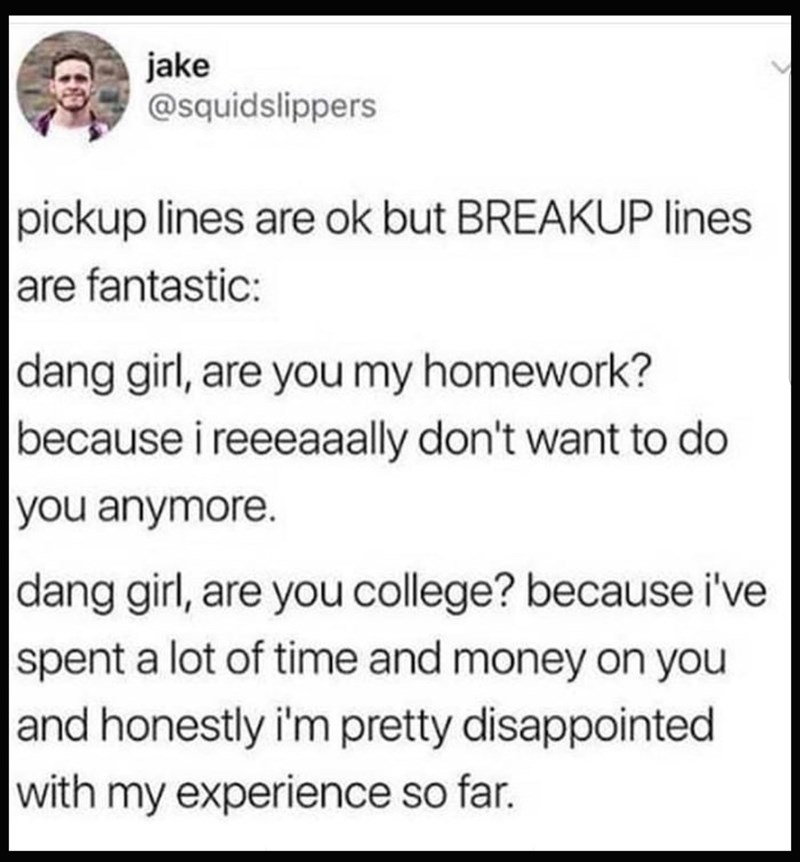 Text - jake @squidslippers pickup lines are ok but BREAKUP lines are fantastic: dang girl, are you my homework? because i reeeaaally don't want to do you anymore. |dang girl, are you college? because i've spent a lot of time and money on you and honestly i'm pretty disappointed with my experience so far.