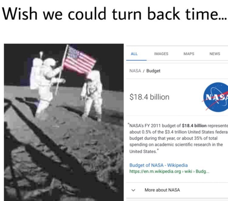"""Text - Wish we could turn back time.. IMAGES MAPS NEWS ALL NASA/ Budget $18.4 billion NAS NASA's FY 2011 budget of $18.4 billion represente about 0.5% of the $3.4 trillion United States federa budget during that year, or about 35% of total spending on academic scientific research in the United States."""" Budget of NASA-Wikipedia https://en.m.wikipedia.org wiki Budg... More about NASA"""