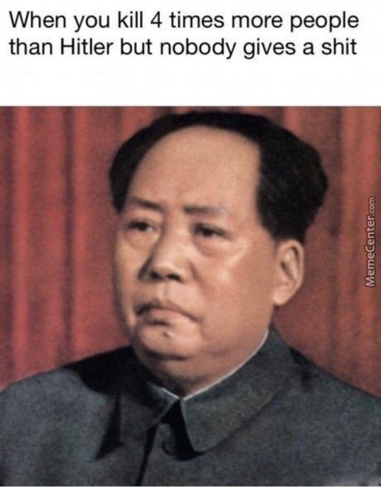 Forehead - When you kill 4 times more people than Hitler but nobody gives a shit MemeCenter.com