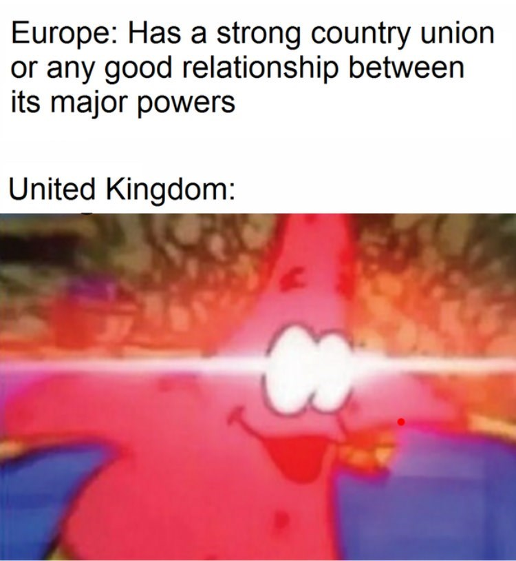 Text - Europe: Has a strong country union or any good relationship between its major powers United Kingdom: