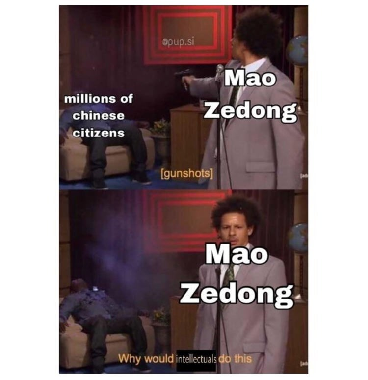 Text - opup.si Mao Zedong millions of chinese citizens [gunshots] Мао Zedong Why would intellectuals do this Jad