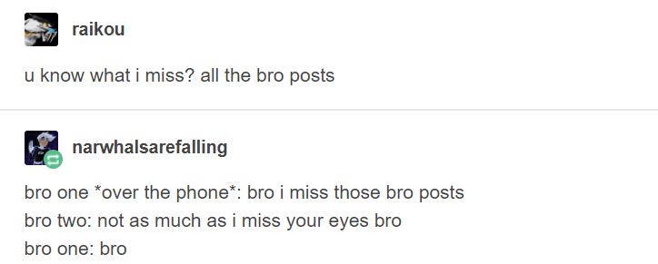 Text - raikou u know what i miss? all the bro posts narwhalsarefalling bro one *over the phone: bro i miss those bro posts bro two: not as much as i miss your eyes bro bro one: bro