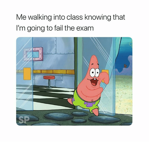 finals patrick star relatable SpongeBob SquarePants college humor test finals week funny college exams - 9153761280