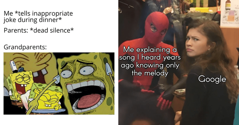 Funny random memes, spongebob meme about telling offensive jokes, spider-man memes about searching for song on google, zendaya.